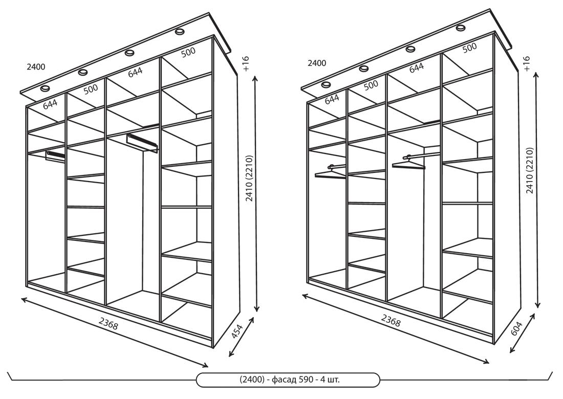 Размеры 4-хдверных шкафов 2368